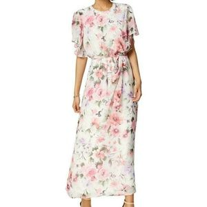 Nine West Ivory/Pink Chiffon Floral Maxi Dress 6
